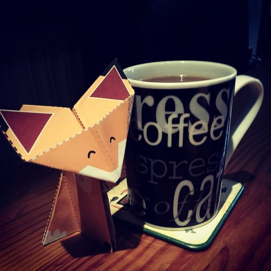 Taken by @joe198804 (and featuring the Origami Coffee Fox from the September issue of The Perc.)